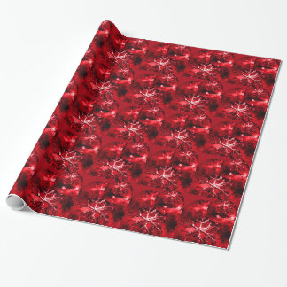Red Christmas Ornaments Holiday Snowflakes Gift Wrap Paper