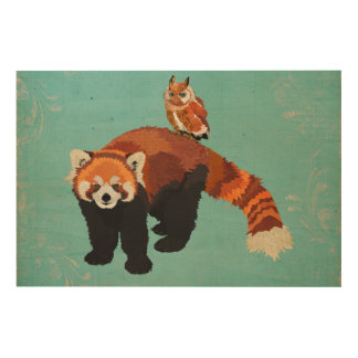 Red Panda & Owl Wooden Canvas Wood Print