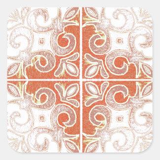 Redemoinho branco alaranjado inspirado pelo adesivo quadrado