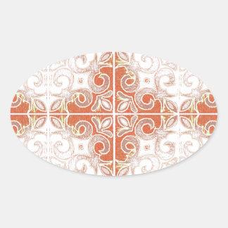 Redemoinho branco alaranjado inspirado pelo adesivos em formato oval