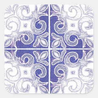 Redemoinho branco azul inspirado pelo português adesivos quadrados