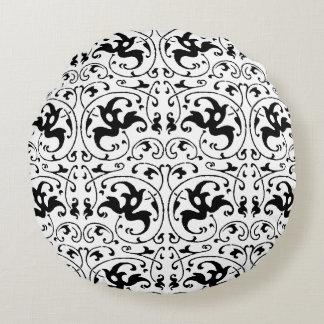 Redemoinho branco preto do vintage almofada redonda