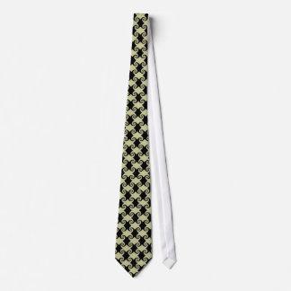 Redemoinho preto e curvas no laço baixo de creme gravata