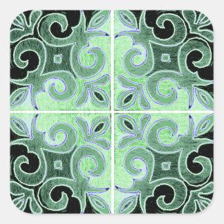 Redemoinho preto verde inspirado pelo português adesivo quadrado