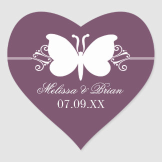 Redemoinhos da borboleta da beringela que Wedding Adesivo Coração