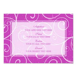 Redemoinhos do rosa do menu do casamento convite 12.7 x 17.78cm
