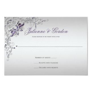 Redemoinhos florais de prata roxos ornamentado convite 8.89 x 12.7cm