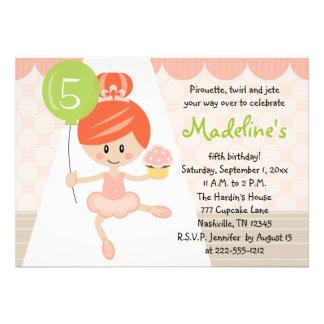 Redhead do convite do aniversário da bailarina do