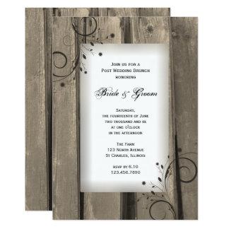 Refeição matinal de madeira do casamento do cargo convite 12.7 x 17.78cm