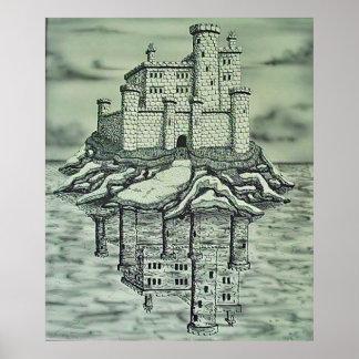 Reflexão do castelo pôster