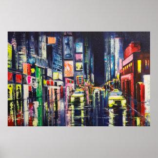 Reflexões da cidade na noite pôster