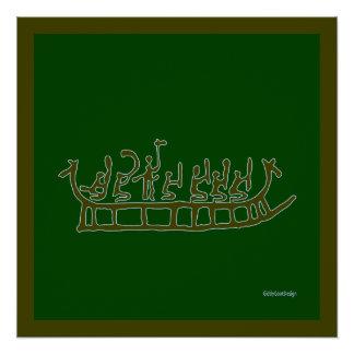 Refrigere o navio pré-histórico do dragão da poster perfeito