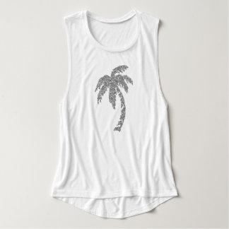 Regata Camisola de alças chique do branco da palmeira da