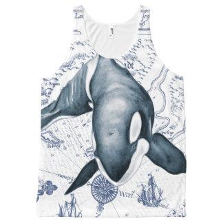 Regata Com Estampa Completa Azul do mapa da orca