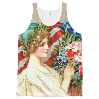 Regata Com Estampa Completa Bandeira americana floral