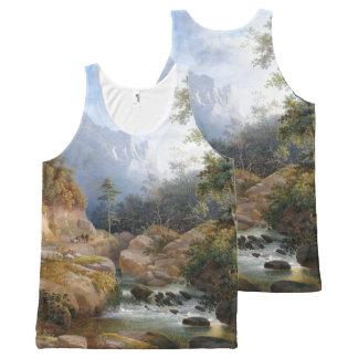Regata Com Estampa Completa Camisola de alças das árvores do trajeto de