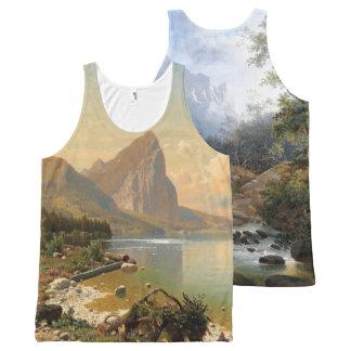 Regata Com Estampa Completa Camisola de alças dos cumes das árvores do lago
