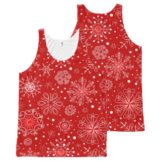 Regata Com Estampa Completa Flocos de neve bonitos no Natal vermelho do fundo