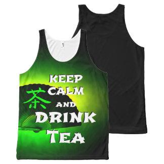 Regata Com Estampa Completa mantenha chá calmo e da bebida - edição verde de
