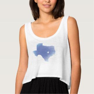 Regata Flowy Crop Mapa azul bonito da aguarela de Texas