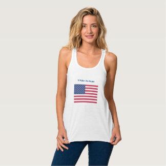 Regata Racerback Flowy Faz-me a bandeira Feliz-Americana