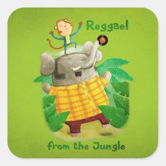 Reggae da selva adesivo quadrado