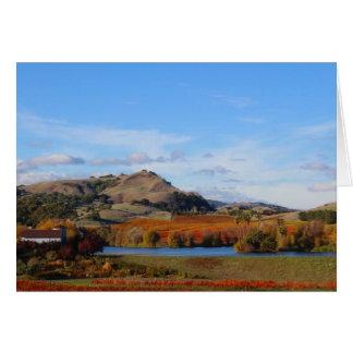 Região vinícola de Napa Valley na queda Cartão