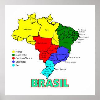 Regiões de mapa de Brasil Pôster