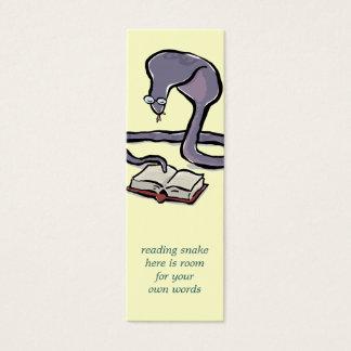 registre o marcador da cobra da leitura com suas cartão de visitas mini