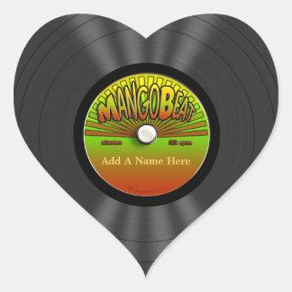 Registro de vinil personalizado da reggae do adesivo coração