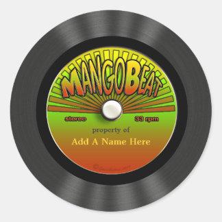 Registro de vinil personalizado da reggae do vinta adesivos redondos