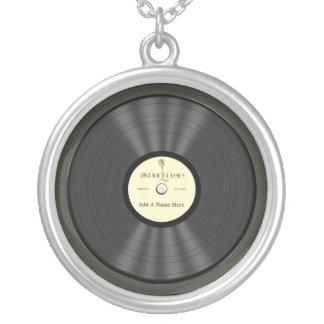 Registro de vinil personalizado do microfone do colar banhado a prata