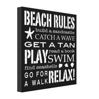 Regras da praia pelo preto & pelo branco torrados  impressão em tela