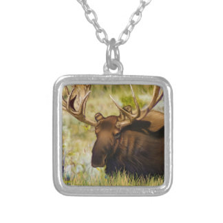 Rei Alce Bull de Teton Colar Com Pendente Quadrado