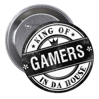 Rei do botão engraçado dos Gamers para nerd e geek Bóton Redondo 7.62cm