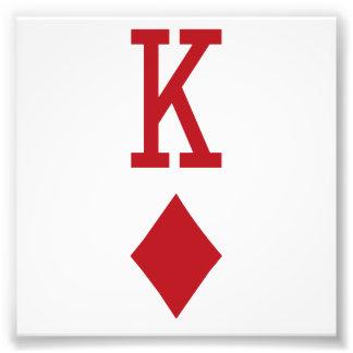 Rei do cartão de jogo vermelho dos diamantes impressão de foto