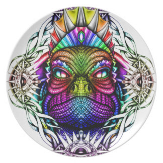Rei do lagarto do arco-íris no quadro colorido louça de jantar