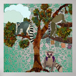 Rei Jullian & Lemurs para fora em um damasco P do Poster