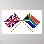 Reino Unido e bandeiras cruzadas África do Sul Posteres