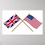 Reino Unido e bandeiras cruzadas os Estados Unidos Impressão