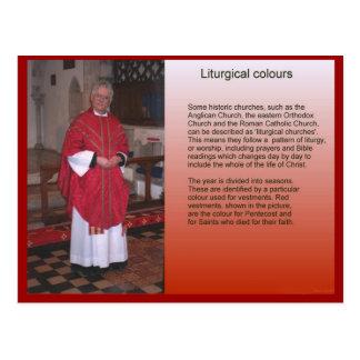 Religião, cristandade, cores litúrgicas cartoes postais