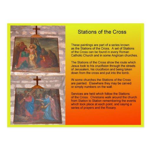 Religião, cristandade, estações da cruz cartao postal