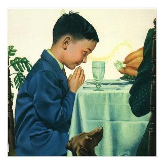 Religião do vintage, criança que diz a benevolênci convite personalizado