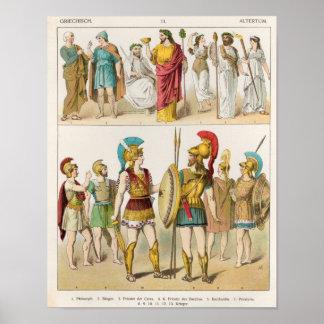 Religiosos gregos e as forças armadas vestem-se poster