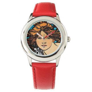 Relógio Alphonse Mucha - arte retro Nouveau de Perfecta