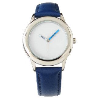 Relógio azul de aço inoxidável da correia de couro