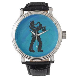 Relógio Azul do saxofone das noites da dança de New York