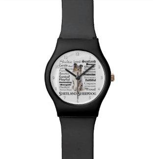 Relógio azul dos traços de Merle Sheltie