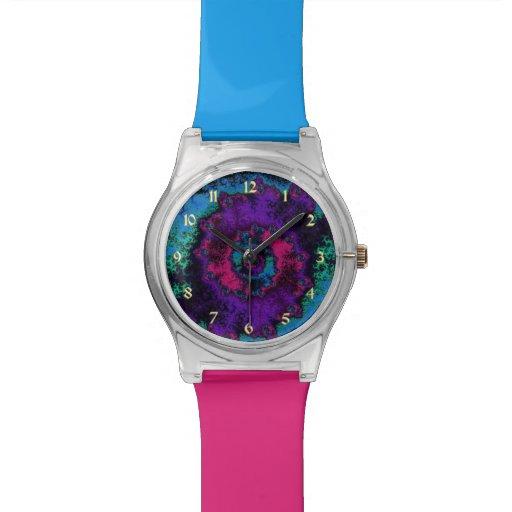 Relógio azul e roxo verde colorido do Fractal