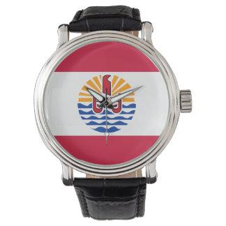 Relógio Bandeira de Polinésia francesa